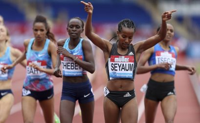 Ethiopa's Dawit Seyaum celebrates winning the Women's 1500m during the Muller Grand Prix at the Alexandra Stadium, Birmingham