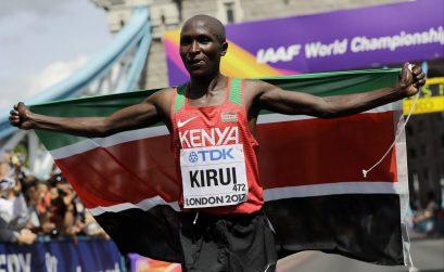 Geoffrey Kipkorir Kirui after winning the men's marathon in 2:08.27 at the IAAF World Championships in London / Photo credit: Getty Images for the IAAF