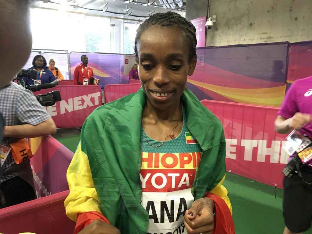 Almaz Ayana of Ethiopia after the women's 5000m final - IAAF World Championships, London 2017 / Photo Credit: Yomi Omogbeja - AthleticsAfrica.com
