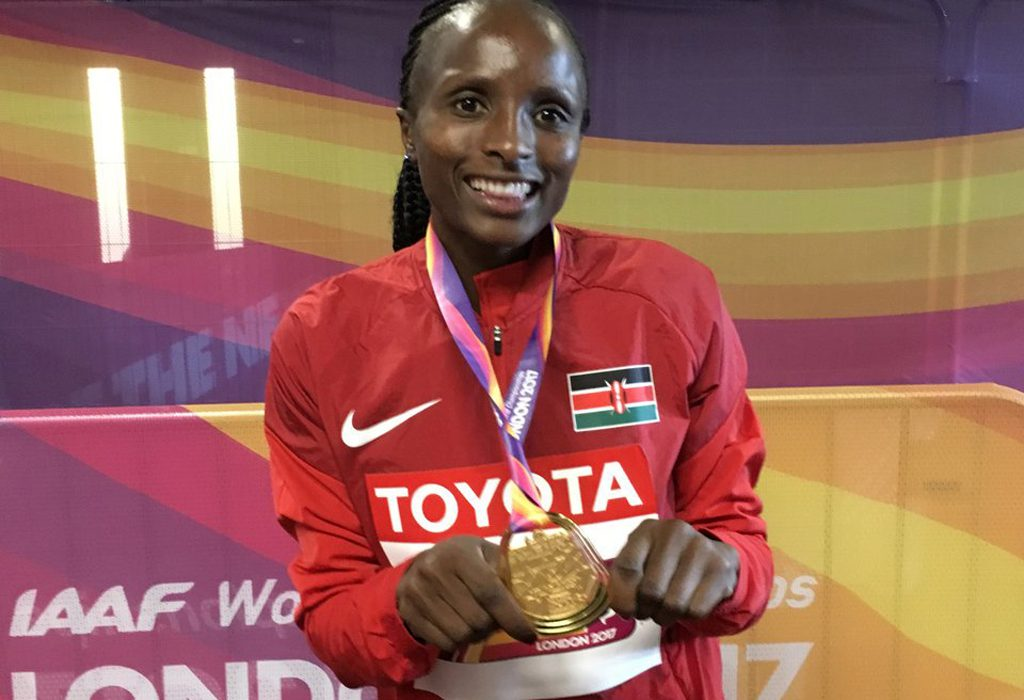 Kenya's Hellen Obiri with her 5000m medal - IAAF World Championships, London 2017 / Photo Credit: Yomi Omogbeja - AthleticsAfrica.com