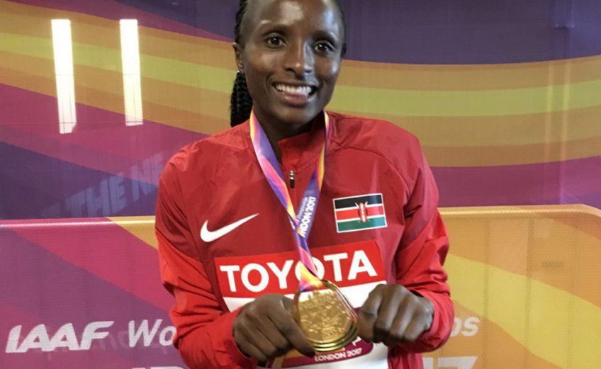 Kenya's Hellen Obiri with her 5000m medal - IAAF World Championships, London 2017 / Photo Credit: Yomi Omogbeja - AthleticsAfrica.com