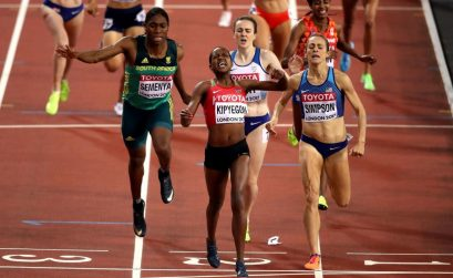 Kenya's Faith Kipyegon and Caster Semenya on the line during the women's 1500m final in London 2017
