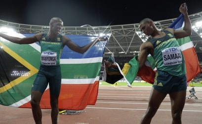 South Africa's Luvo Manyonga and Ruswahl Samaai at the IAAF World Champs, london 2017