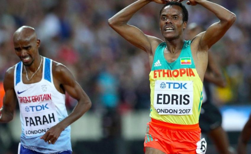 Ethiopia's Muktar Edris ended Britain's Mohammed Farah dominance at the IAAF World Championships on Saturday night.