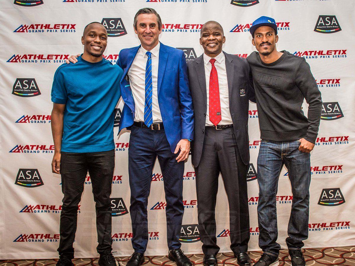 (from left to right): Akani Simbine (athlete), Michael Meyer (Managing Director of Stillwater Sports), Aleck Skhosana (President of ASA) and Henricho Bruintjies (athlete). Photo Credit: Tobias Ginsberg