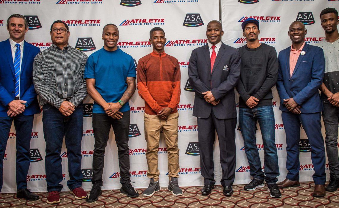 (from left to right): Michael Meyer (Managing Director of Stillwater Sports), Pieter Lourens (ASA Chair Track & Field), Akani Simbine (athlete), Retshiditswe Mlenga (athlete), Aleck Skhosana (President of ASA), Henricho Bruintjies (athlete), Hezekiel Sepeng (ASA Excellence Manager) and Anaso Jobodwana (athlete). Photo Credit: Tobias Ginsberg