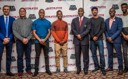 (from left to right): Michael Meyer (Managing Director of Stillwater Sports), Pieter Lourens (ASA Chair Track & Field), Akani Simbine (athlete), Retshiditswe Mlenga (athlete), Aleck Skhosana (President of ASA), Henricho Bruintjies (athlete), Hezekiel Sepeng (ASA Excellence Manager) and Anaso Jobodwana (athlete). Photo Credit: Tobias Ginsberg