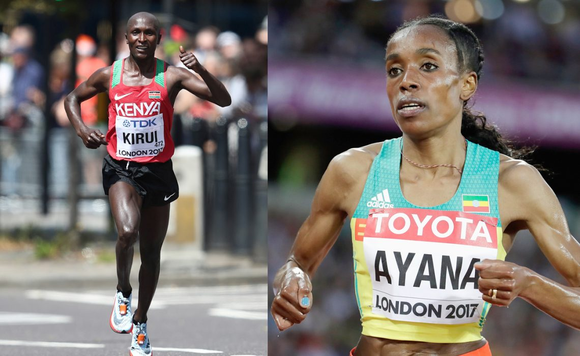 2017 world champions Geoffrey Kirui and Almaz Ayana / credit: © Getty Images for the IAAF