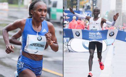 BMW Berlin Marathon 2017 race winners Eliud Kipchoge and Gladys Cherono/ Photo credit: SCC Events / Victah Sailer