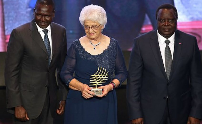 South Africa based Namibian sprint coach Tannie Anna Botha received the prestigious Coaching Achievement Award at the IAAF Athletics Awards 2017
