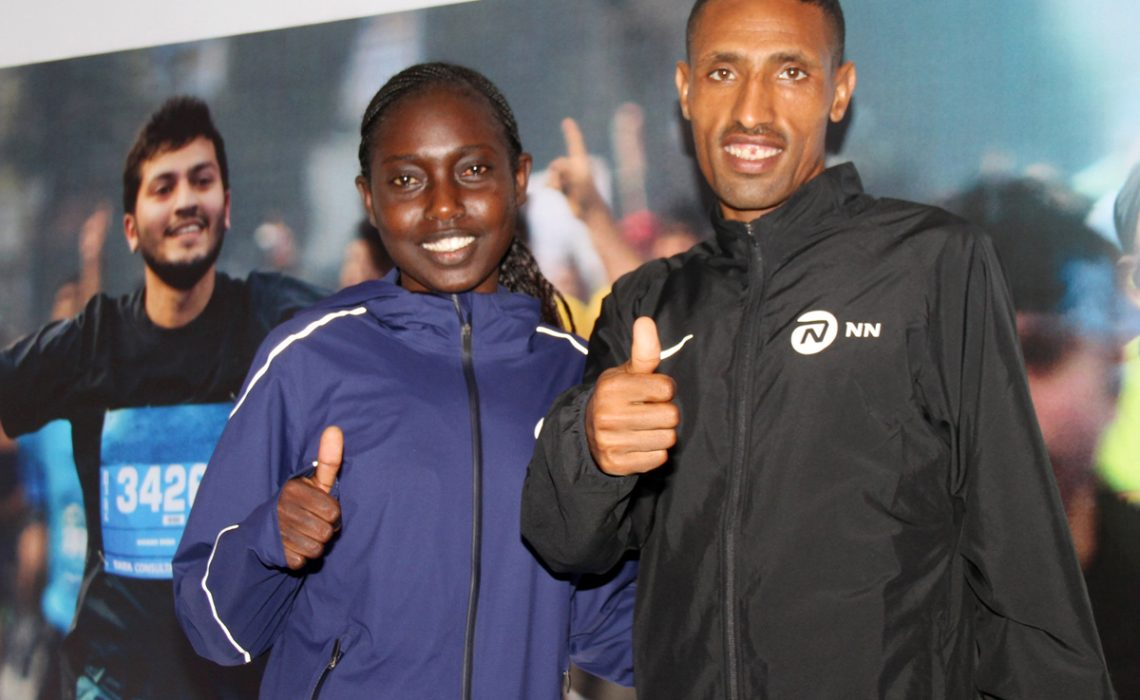 Tata Mumbai Marathon 2018 press conference - Ethiopia's Solomon Kitur & defending women's champion Kenya's Bornes Kitur (R) / Photo Credit: Procam International