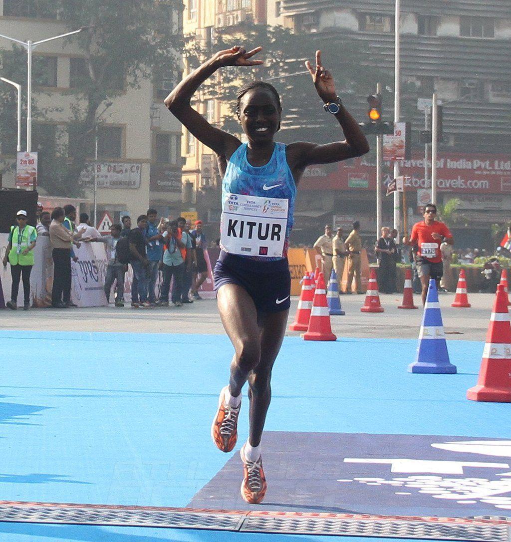 Kenya's Bornes Kitur finishing second in the Tata Mumbai Marathon 2018 women's race / Photo Credit: Procam International