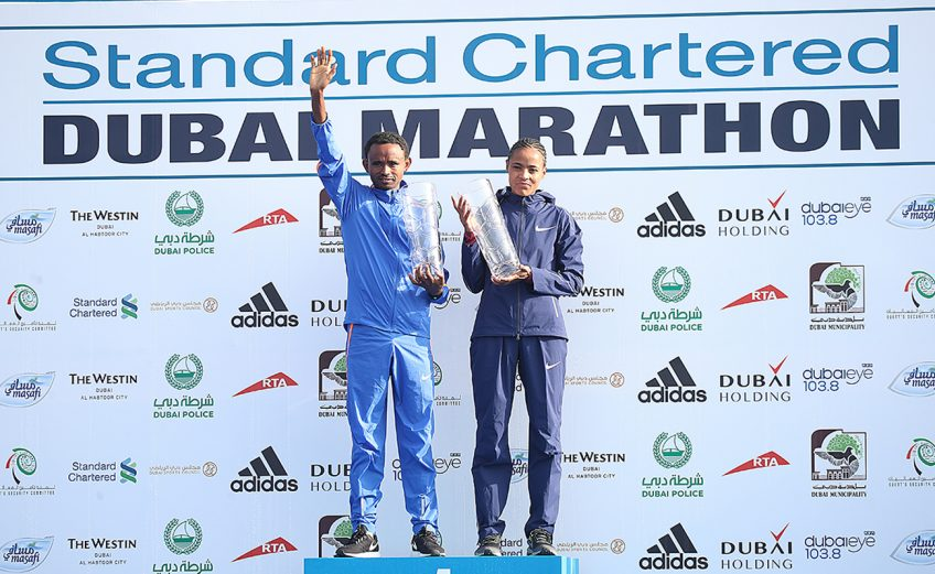 Ethiopia's Mosinet Geremew and Roza Dereje winning with course records to take the men's and women's titles at the 2018 Standard Chartered Dubai Marathon / Photo Credit: Dubai Marathon Office