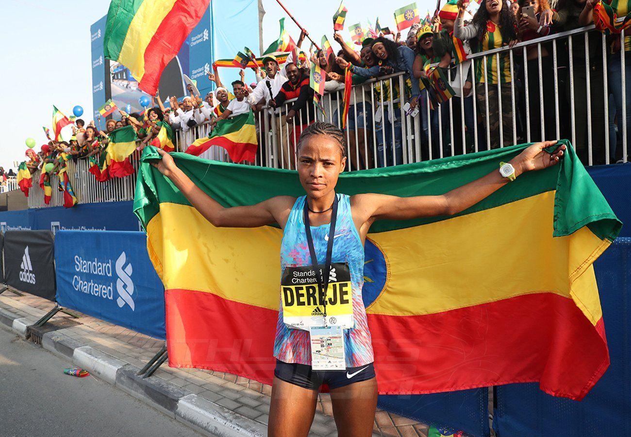 Ethiopia's Roza Dereje smashed the course record to take the women's titles at the 2018 Standard Chartered Dubai Marathon / Photo Credit: Dubai Marathon Office