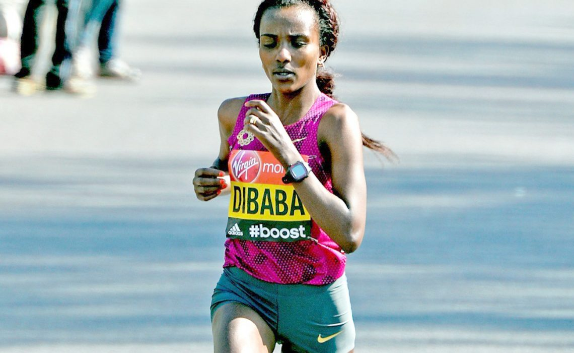 Ethiopian Tirunesh Dibaba running the London Marathon in 2014 / Photo Credit: Mark Shearman
