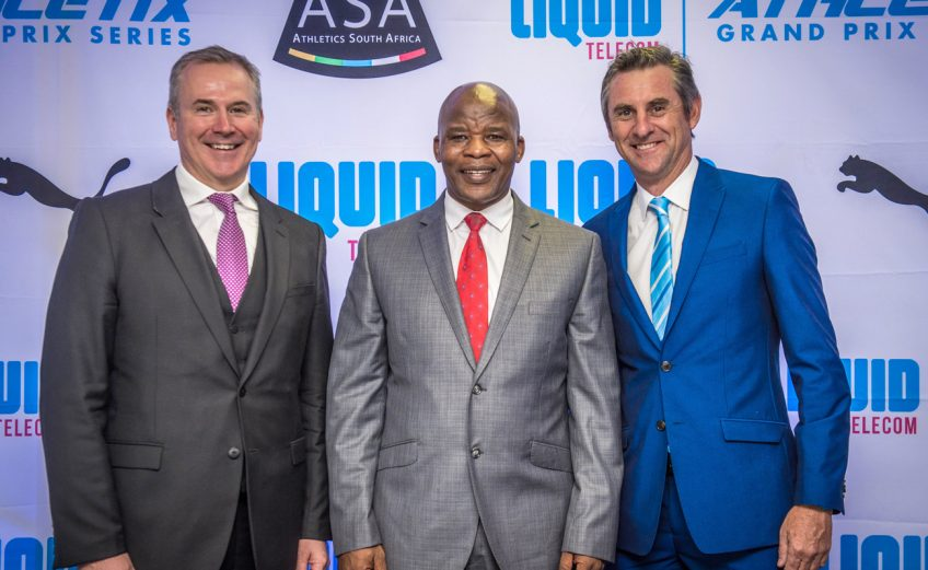 (from left to right): Kyle Whitehall (Liquid Telecom South Africa Chief Executive Officer), Aleck Skhosana (the president of Athletics South Africa) and Michael Meyer (Managing Director of Stillwater Sports). Photo Credit: Tobias Ginsberg