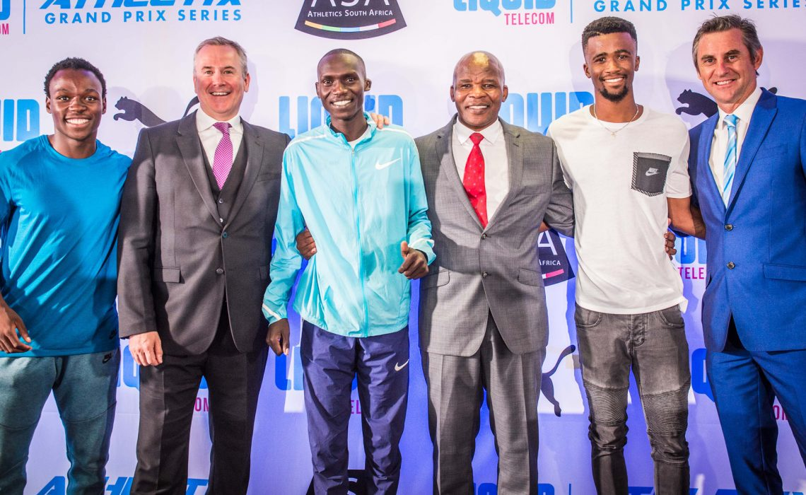 (from left to right): Clarence Munyai, Kyle Whitehall (Liquid Telecom South Africa Chief Executive Officer), Joshua Cheptegei, Aleck Skhosana (the president of Athletics South Africa), Anaso Jobodwana and Michael Meyer (Managing Director of Stillwater Sports). Photo Credit: Tobias Ginsberg