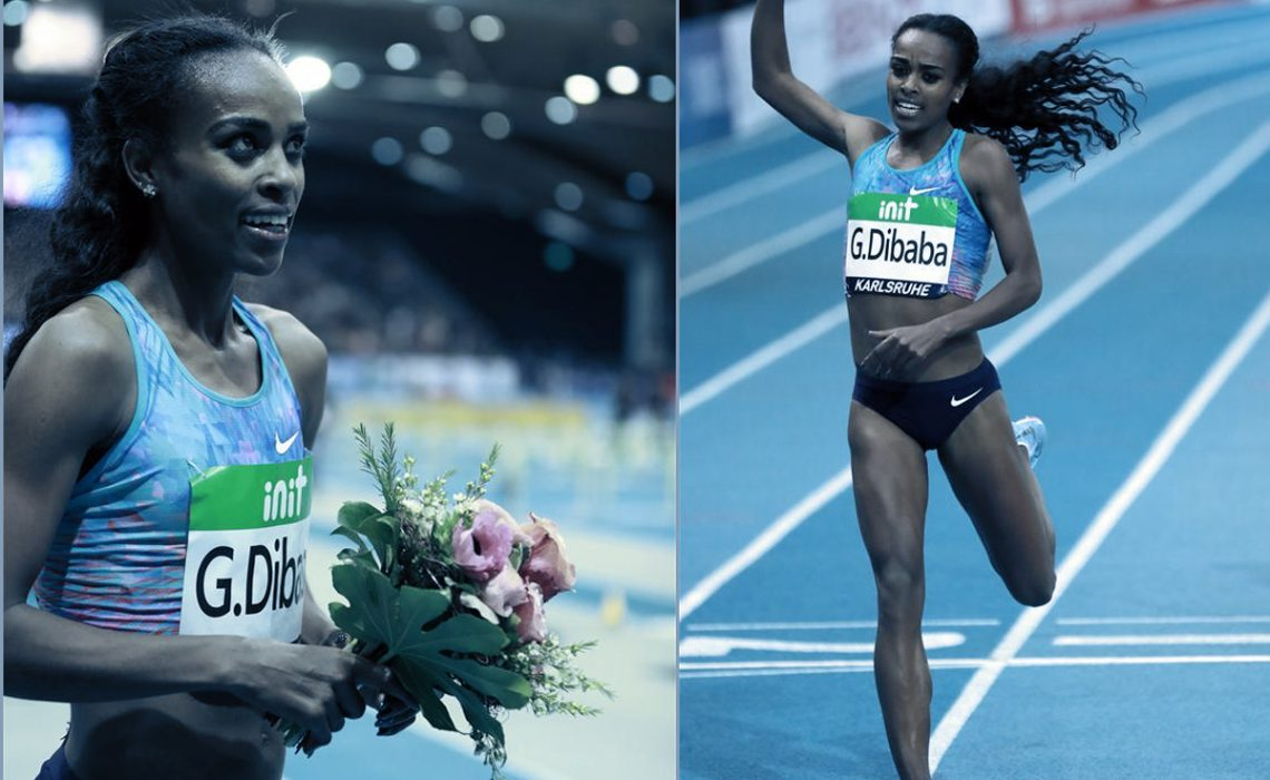 Genzebe Dibaba of Ethiopia celebrates after winning Women's 1500m final of the 2018 IAAF World Indoor Tour in Karlsruhe, Germany, on 3 February, 2018. (Xinhua/Luo Huanhuan)