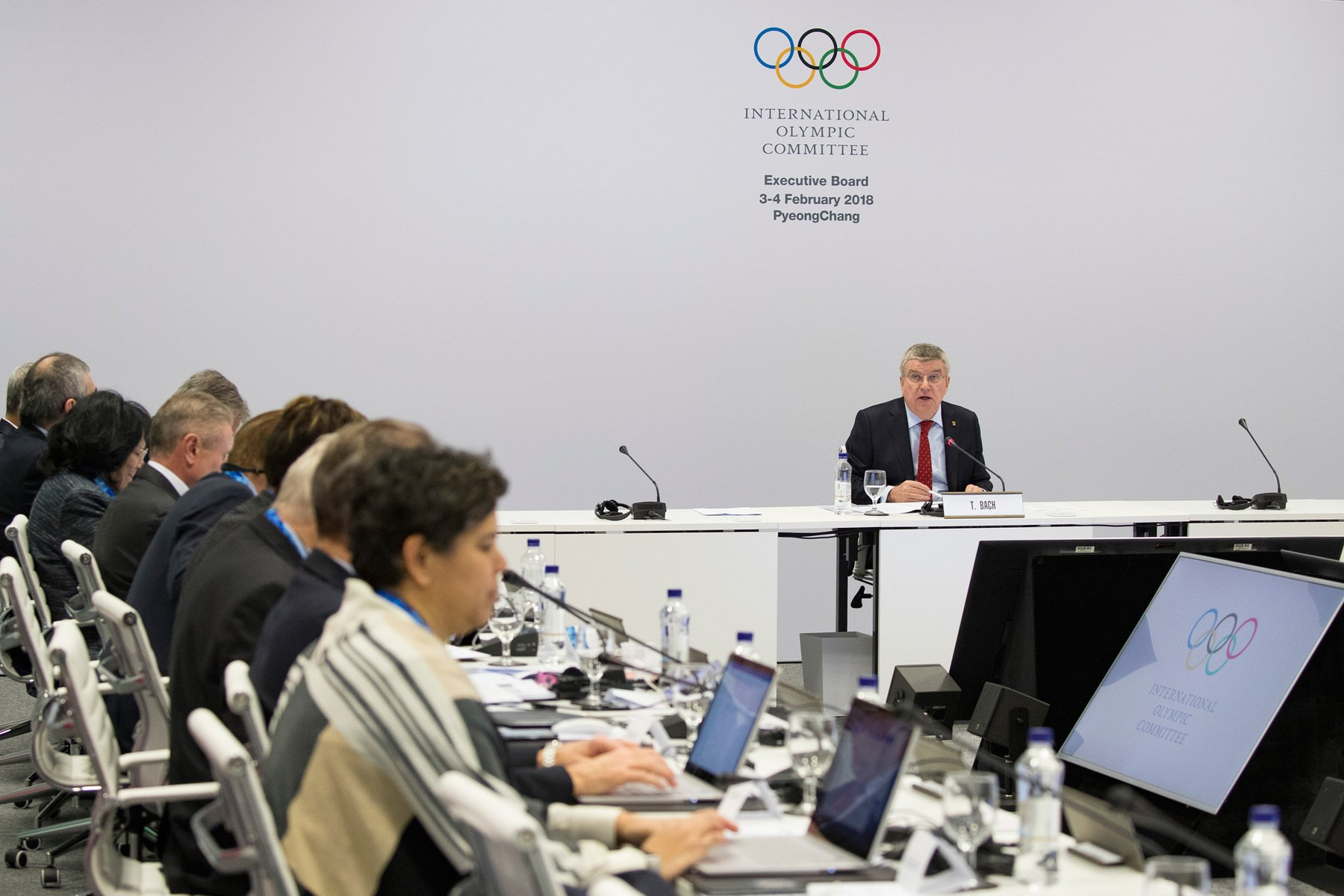IOC President Thomas Bach heads the meeting of the Executive Board Meeting at the IBC in Pyeongchang / Photo by Greg Martin/IOC