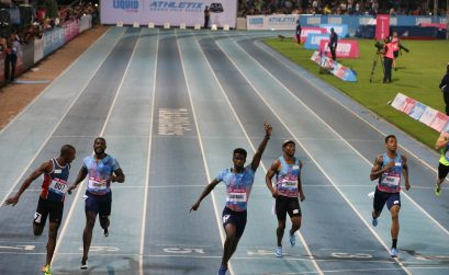 Anaso Jobodwana celebrates as he claims one of his biggest victories of his career ahead of Roscoe Engel, Luxolo Adams and Justin Gatlin. Photo Credit: Roger Sedres