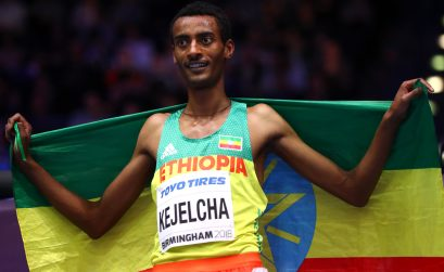 Gold Medallist, Yomif Kejelcha of Ethopia celebrates after the Mens 3000 Metres Final during the IAAF World Indoor Championships on Day Four at Arena Birmingham on March 4, 2018 in Birmingham, England. (Photo by Michael Steele/Getty Images for IAAF)