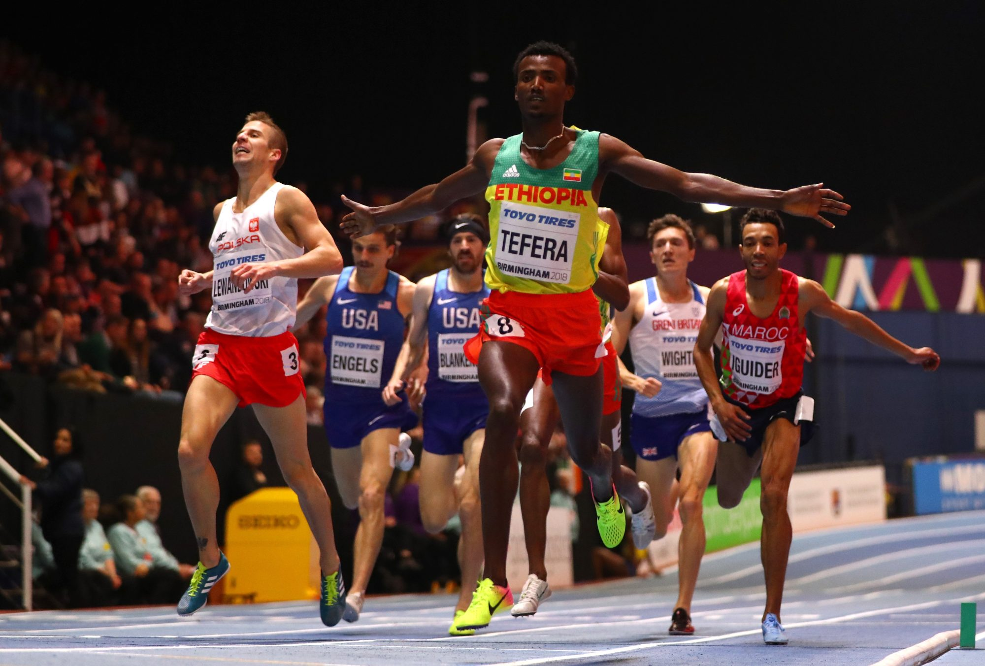 Gold Medallist, Samuel Tefera of Ethopia celebrates winning the Mens 1500 Metres Final during the IAAF World Indoor Championships on Day Four at Arena Birmingham on March 4, 2018 in Birmingham, England. (Photo by Michael Steele/Getty Images for IAAF)