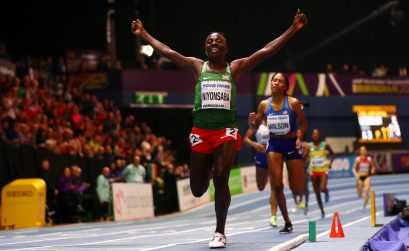 Gold Medallist, Francine Niyonsaba of Burundi celebrates winning the Womens 800 Metres Final during the IAAF World Indoor Championships on Day Four at Arena Birmingham on March 4, 2018 in Birmingham, England. (Photo by Michael Steele/Getty Images for IAAF)