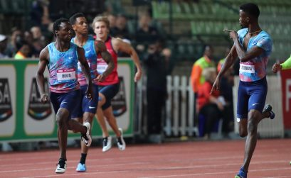 Anaso Jobodwana taunts Clarence Munyai as they cross the 200m men's finish in 1st and 2nd place respectively. Photo Credit: Roger Sedres
