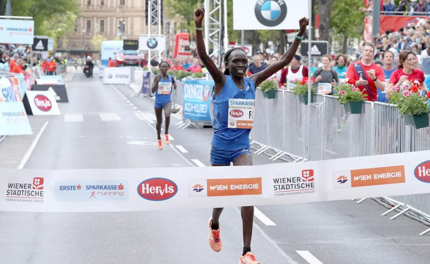Nancy Kiprop winning the Vienna City Marathon 2017. / Photo credit: photorun.net