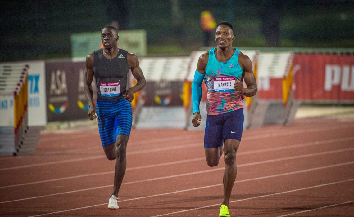 Mame-Ibra Anne and Isaac Makwala during the 400m men's race at the inaugural Liquid Telecom Athletix Grand Prix Series Meeting at Ruimsig Stadium on Thursday, 01 March 2018. Photo Credit: Tobias Ginsberg