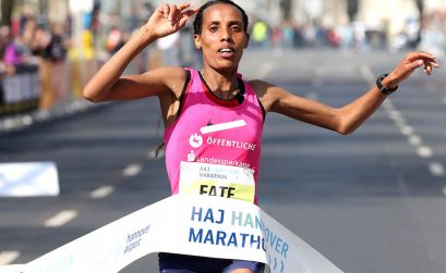 Fate Tola winning the 2017 Hannover Marathon / Photo credit: www.photorun