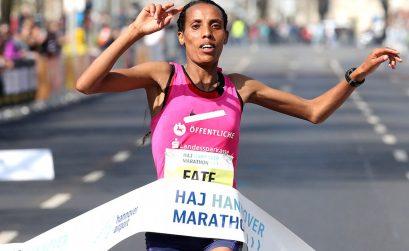 Fate Tola winning the 2017 Hannover Marathon / Photo credit: www.photorun