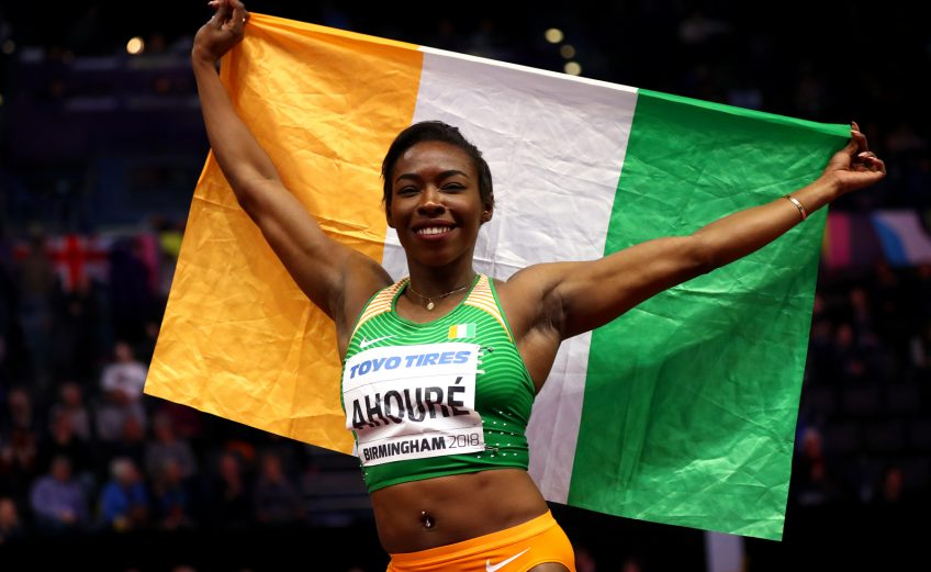 Murielle Ahoure of Cote D'Ivoire wins the 60 Metres Womens Final during the IAAF World Indoor Championships on Day Two at Arena Birmingham on March 2, 2018 in Birmingham, England. Photo by Michael Steele/Getty Images for IAAF