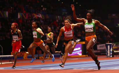 Murielle Ahoure (R) of Cote D'Ivoire wins the 60 Metres Womens Final during the IAAF World Indoor Championships on Day Two at Arena Birmingham on March 2, 2018 in Birmingham, England. Photo by Michael Steele/Getty Images for IAAF