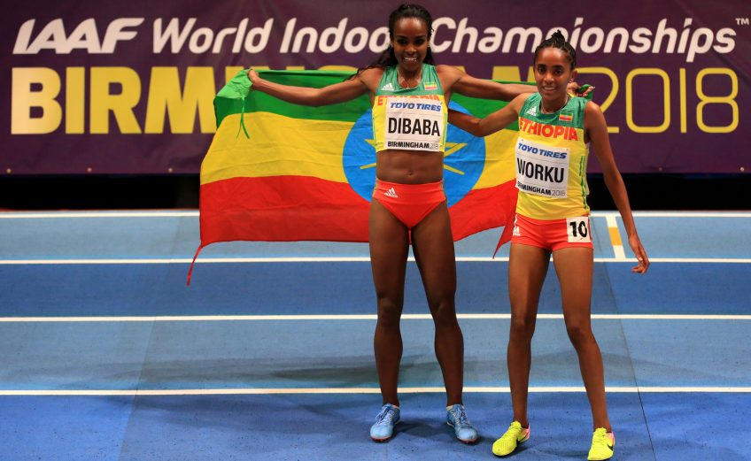 Genzebe Dibaba of Ethiopia on Day One of the IAAF World Indoor Championships at Arena Birmingham on March 1, 2018 in Birmingham, England. credit: Photo by Michael Steele/Getty Images for IAAF
