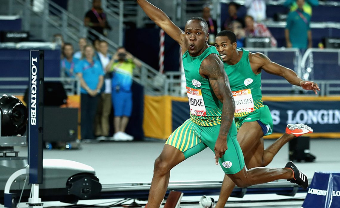 Akani Simbine of South Africa celebrates winning gold as he crosses the line ahead of-silver-medalist Henricho Bruintjies of South Africa at the Gold Coast 2018 Commonwealth Games / Photo credit: Getty Images