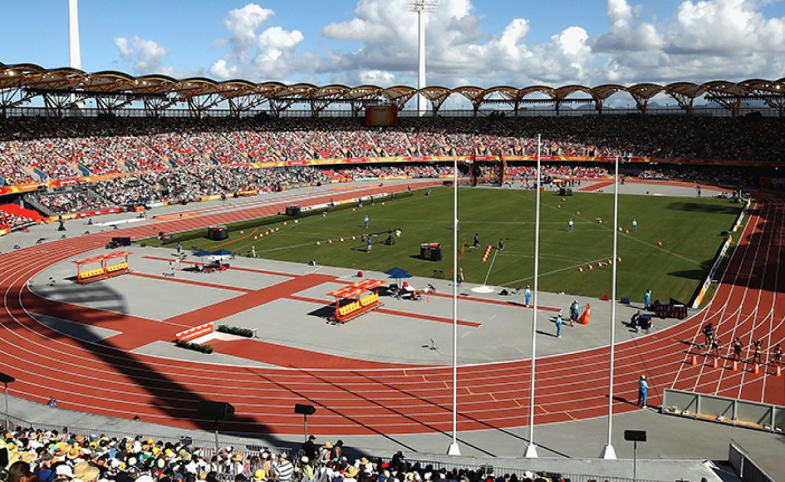 Spectators watching Athletics at the Gold Coast 2018 Commonwealth Games venue - the Carrara Stadium.