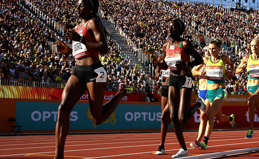Kenya's Hellen Obiri on her way to winning the Commonwealth 5000m title at Gold Coast 2018 / Photo Getty Images