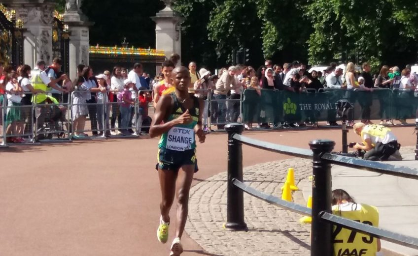 South Africa's Lebogang Shange racing past Buckingham Palace at the IAAF World Championships in London, England. Photo credit: ASA