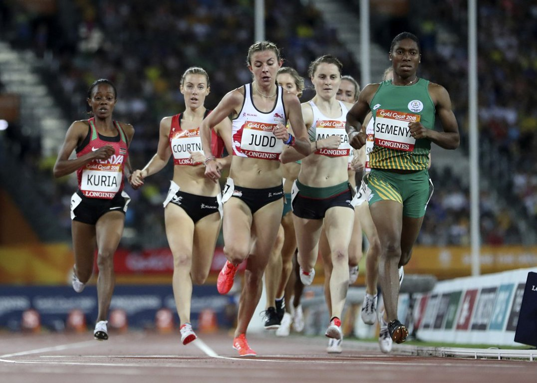 Caster Semenya on her way to win the Commonwealth Games women's 1500m final at Gold Coast 2018 / Photo Credit: Getty
