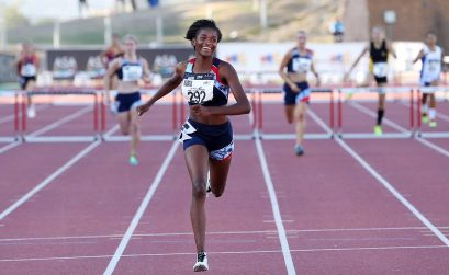 Gontse Morake breaking the South African 400m hurdles Under-18 record on the first day of ASA Youth and Junior Championships in Paarl on Thursday / Photo Credit: Sibonelo Ngcobo/ ANA Pictures