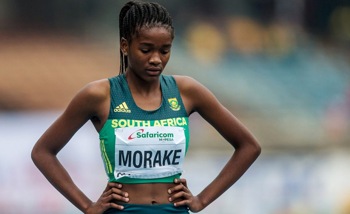 Gontse Morake on the start-line at the IAAF World U-18 Championships in Nairobi 2017.