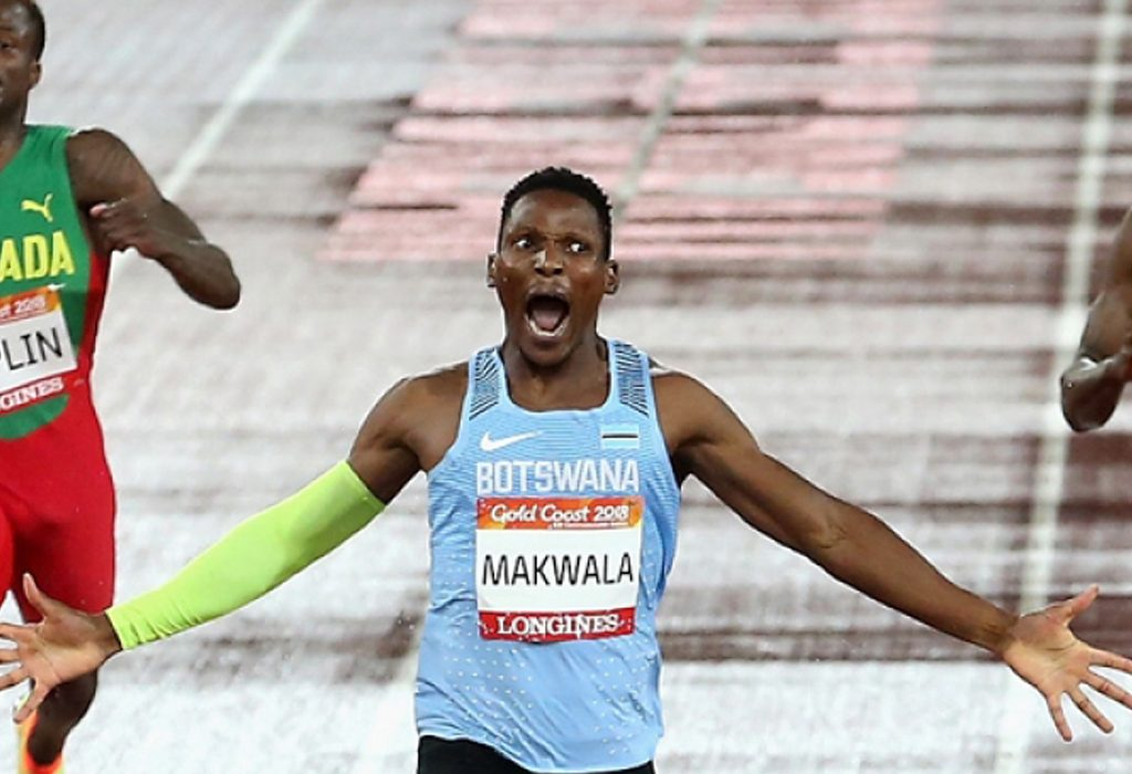 The gold medallist Isaac Makwala celebrates after the men's 400m final / Photo Credit: Getty