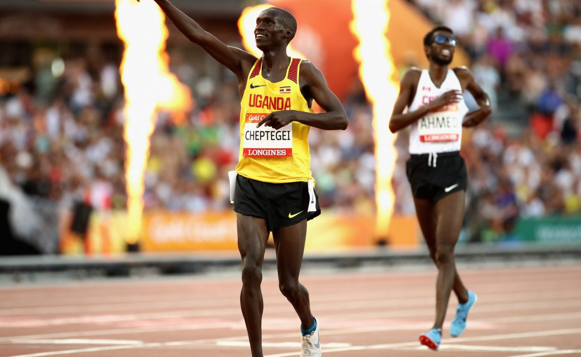 Uganda's Joshua Cheptegei sprinted clear to take the first track Commonwealth Games Athletics gold of Gold Coast 2018 in the men's 5,000m at the Carrara stadium in the Gold Coast on Sunday. / Photo: Getty Images