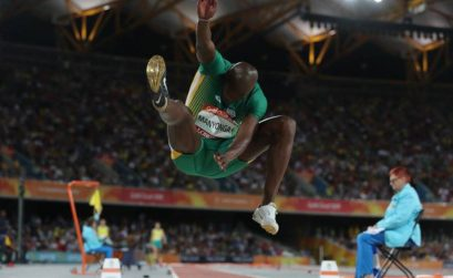Luvo Manyonga of South Africa flies through the air in the men's long jump final. Credit: Cameron Spencer/Getty Images