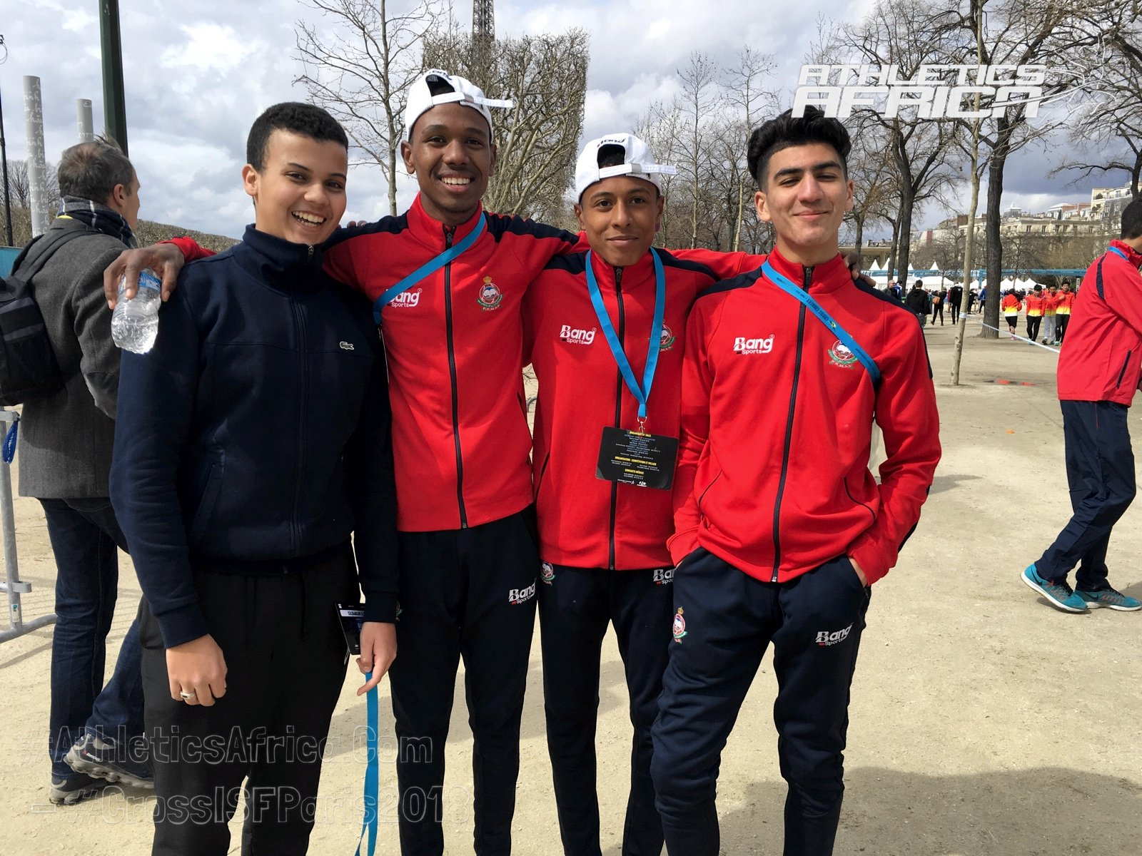Moroccan youth athletes at the 2018 International School Sport Federation World School Championship (WSC) Cross Country in Paris on Wednesday 4 April / Photo Credit: Yomi Omogbeja