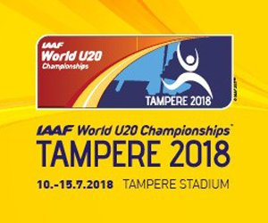 The 2018 World U20 Championships in Athletics for athletes qualifying as juniors will take place at Ratina Stadium in Tampere, Finland from 10-15 July 2018