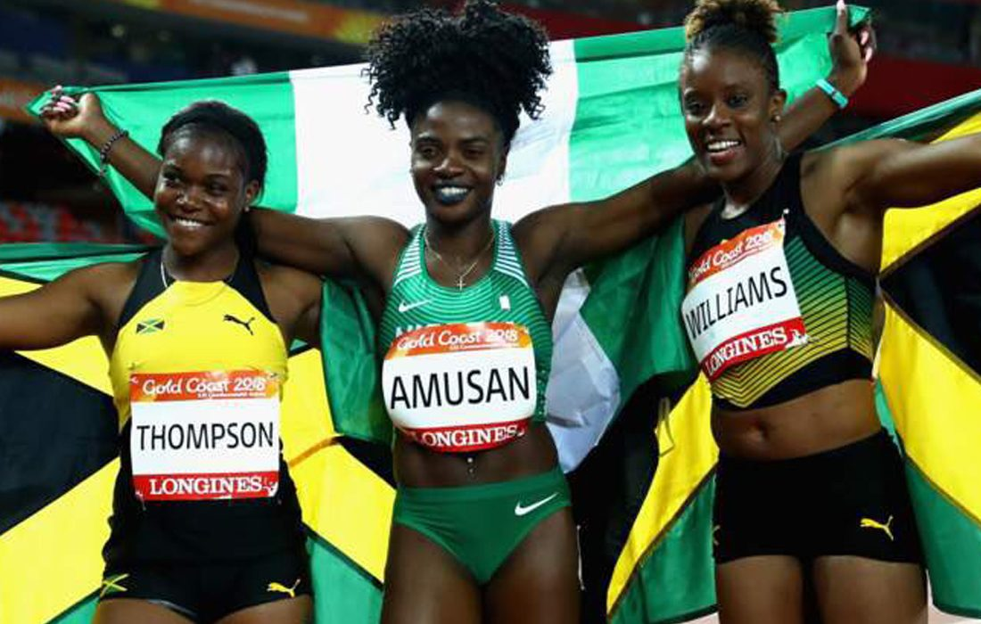 Oluwatobiloba Amusan (Nigeria) wins the CWG Women's 100m hurdles Gold in 12.68.