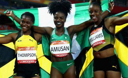 Oluwatobiloba Amusan (Nigeria) wins the CWG Women's 100m hurdles Gold in 12.68.