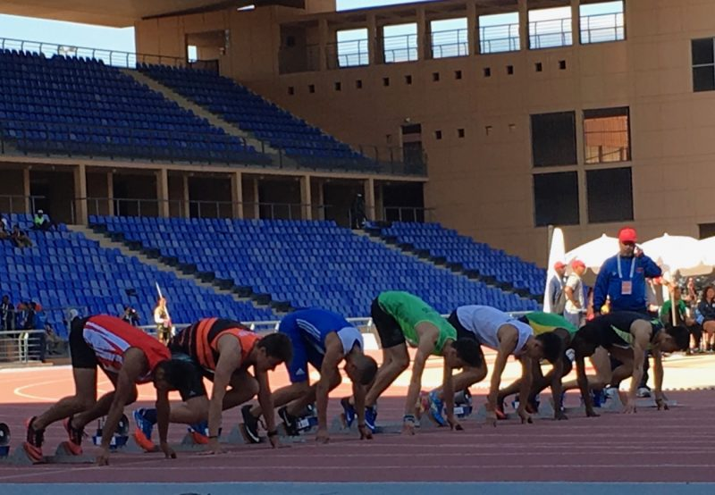 Boys 100m start at Gymnasiade 2018. / Photo Credit: Yomi Omogbeja